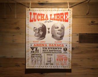 18x24 Nacho Libre vs Ramses Lucha Libre Event Poster
