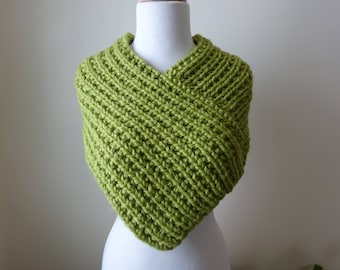 Knit Cowl, Knit Neck Warmer, Textured Rib Stitch Cowl Neck Warmer in Leaf Green - Acrylic - Soft Cowl - Warm Cowl - Gift for Her