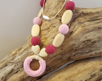 Babywearing necklace - pink nursing necklace - crochet wooden beads
