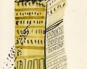 Original quirky folk art watercolour painting - Tower Block Rats #2