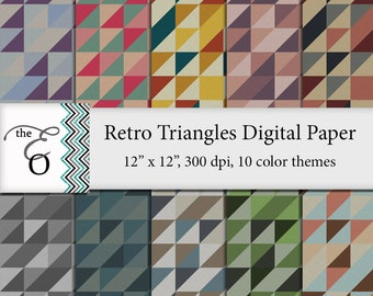 Retro Triangles Digital Paper Pack - High Res, 12x12 - Instant Download