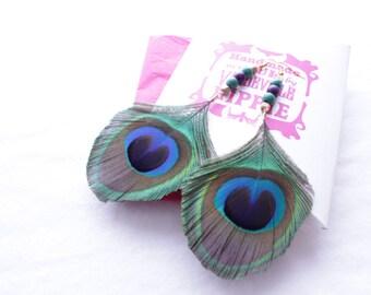 Peacock Feather, Earrings, Jewellery, Jewelry, Women's, Natural, Purple, Green, Boho, Accessories, Festival, Tribal, Wooden Beads, Gift Idea