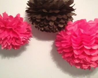 """3 Medium (12"""") Tissue Paper Pom Poms - Birthday/Wedding/Baby Shower/Bridal Shower/Nursery"""