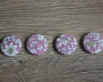 Pink liberty style magnets, magnets set, pink floral, liberty print, new home gift, housewarming, fridge magnets