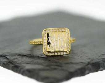 925 Sterling Silver Square CZ Monogram Ring, Gold Monogram Ring, Gold Vermeil