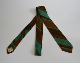 Vintage 1960s Brown and Green Striped Skinny Tie by Carson Pirie Scott