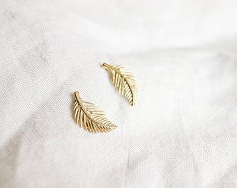 Gold Leaf Post Earrings, Gold Leaf Stud Earrings, Small Leaf Earrings
