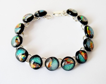 Dichroic Glass Glittery Bracelet, Clear over Green, Silver Grey, Bronze Dichroic Fused Glass, Silver Tone Link Bracelet