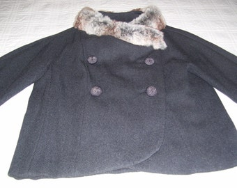 Short Evening Coat, Shrug Coat, 40s Evening Coat, Gray Short Jacket, Bolero Coat Fur Collar 40s Small 4/6 Vintage