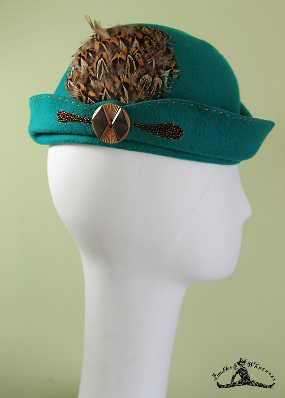 Teal Cloche - Women's Teal Sculpted Wool Feathered Cloche Hat - 1920s Style Women's Cloche - Unique Derby Cloche - OOAK