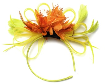 Bright Yellow & Orange Feathers Fascinator on Headband