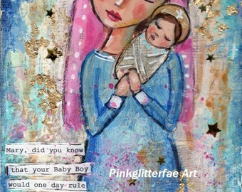 Folk art, madonna and child, Christmas Painting, Children's Art, Wall art