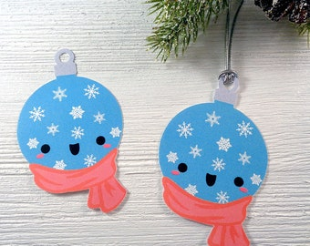 Snow Ball Christmas Gift Tags Cute Kawaii Holiday Tags Unique Christmas Tags Holiday Gift Tags - Set of 12 Blue Snowball Christmas Tags