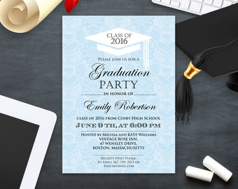Printable Graduation Invitation template College Graduation Party Invitation Sky Blue High School Graduation announcement instant download
