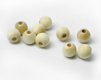 """50 Unfinished Round Wood Beads, 5/16"""" 8mm, 7/64"""" Hole, Made in USA (#1010)"""