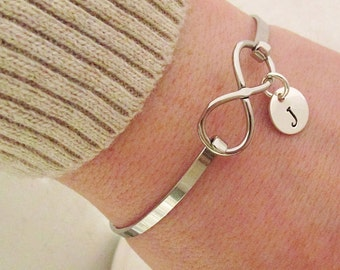 Infinity Bracelet - Personalized Bracelet - Hand Stamped Bangle Bracelet - Bridesmaid Bracelet