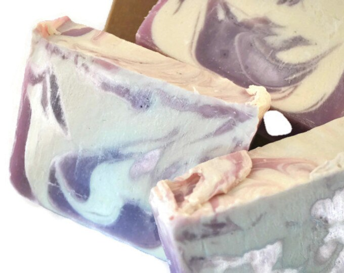 Champagne Scented Handcrafted Soap / Pink & White All Natural Handmade Soap / Cold Process Soaps / Fun Vegan Handmade Bubbly Royal Soap Gift