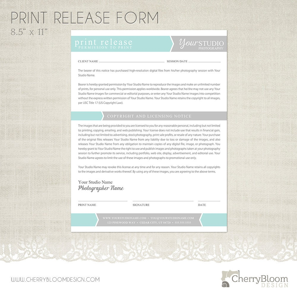 photographic release form