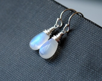 Moonstone Earrings, Rainbow Moonstone Earrings, Moonstone Drop Earrings