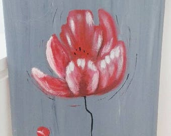 table art deco acrylic flower pink on grey background