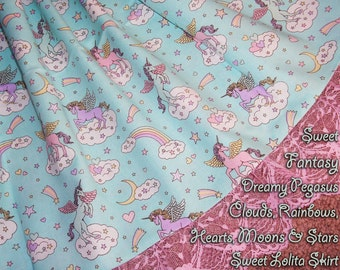 Sweet Fantasy Pastel Pegasus Clouds, Rainbows, Hearts, Moons & Stars Sweet Lolita Skirt - ANY SIZE