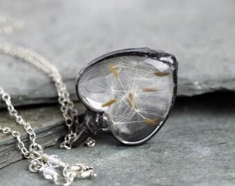 Heart Pendant - Soldered Glass Pendant - Dandelion Seed Necklace - Wish Jewelry - Glass Terrarium