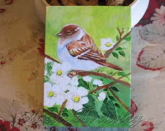 Up-Cycled Acrylic Picture Frame Painting with Song Bird in Blooms- includes shipping