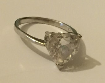 Vintage Sterling Silver Solitaire Ring, 1990s Heart Cubic Zirconia Dress Ring