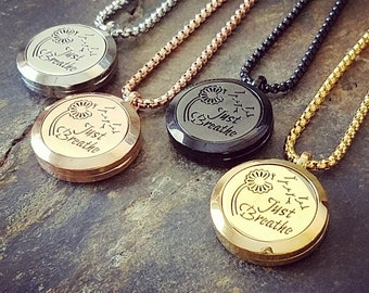 EE Exclusive **Just Breathe** 25mm 316L Stainless Steel Four (4) Piece Set Essential Oil Diffuser Locket Necklaces S012