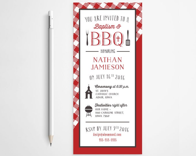 PRINTABLE - BBQ Baby Baptism Invitation - Shower - Gender Neutral - Summer - Pic Nic - Free changes