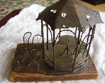 Vintage Tin Metal GAZEBO/WireArt