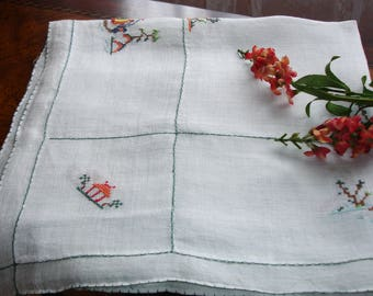 "Table cover, Table topper, Tea linens, Asian table cover, cross stitched tablecover, Asian decor, Asian tea linen, 29"" square, vintage 1960s"
