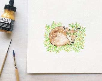 Fawn nursery - nursery watercolor - gold nursery decor - woodland animal