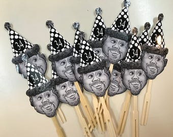Over the hill birthday hat photo cupcake toppers or drink stirrers . Any age added