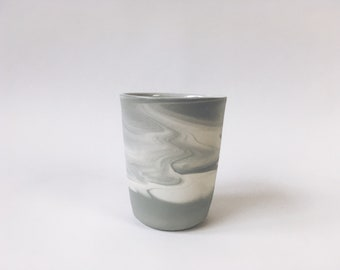 TUMBLER/CUP. Grey Marbled. Ceramic/pottery Drinkware. Vessels