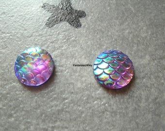 (CABR4) Set of 4 pretty cabochon resin Mermaid scales / dragon scale / reptile 14mm
