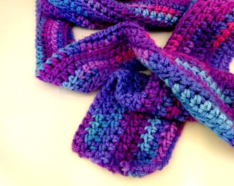 Varigated Purple Scarf, Crochet Blue and Ultra Violet Accessory