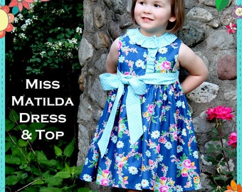 The Cottage Mama Girls Paper Sewing Pattern Miss Matilda Dress and Top  Dress Top 6 months-10 years