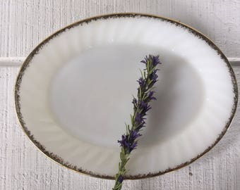 Vintage Fire King large platter 3 available, White milk glass with gold rim oval serving platter -Perfect for wedding/ holiday entertaining