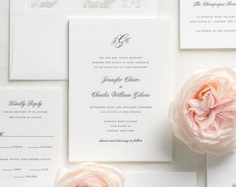 Jennifer Letterpress Wedding Invitations - Sample