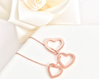 Rose Gold Plated Sterling Silver Trio of Hearts Necklace