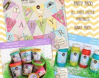 Easter Party Favors *Religious Easter printables*  Bundle--labels that fit Play Doh® cans, bubble labels & Happy Easter garland