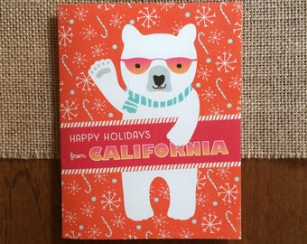 Polar California Folded Holiday Cards, Box of 10 - California Christmas Cards - Happy Holidays from California - OC1174-CA -BX