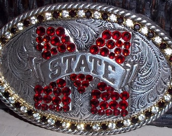 Mississippi State Silver Design Crystal Team Belt Buckle