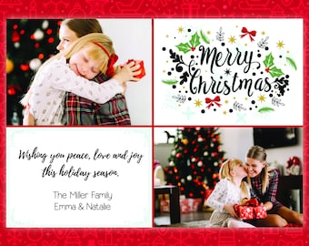 Christmas Card, Print at Home, Personalized Christmas Card, Print Yourself