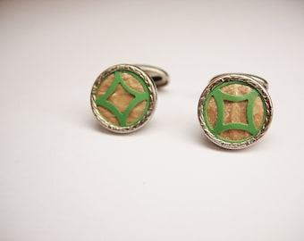 Vintage Art Deco Cufflinks Mother of Pearl Lime Green Enamel Design Small Round Back Swivel cuff links jewelry