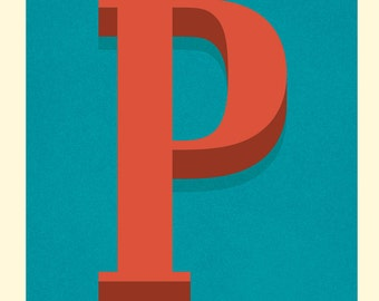 The Letter P, Original Art Print, Typography, Alphabet, Red, Blue, Cream
