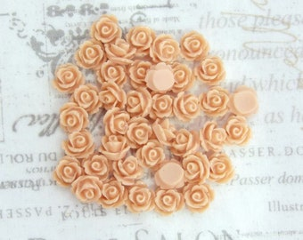 40 Licht Lachs Rose Cabochon 10mm, die Rose Cabochon Light Lachs Blume Cabochon Ohrring liefert
