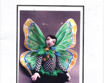 """Papilio """"Butterfly"""" 8"""" Seated Cloth Doll with Silk Wings Pattern by Valarie Garber Designs"""