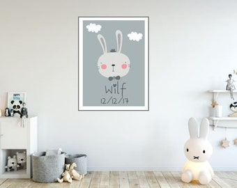 Bowler Hat Bunny (A3 size)